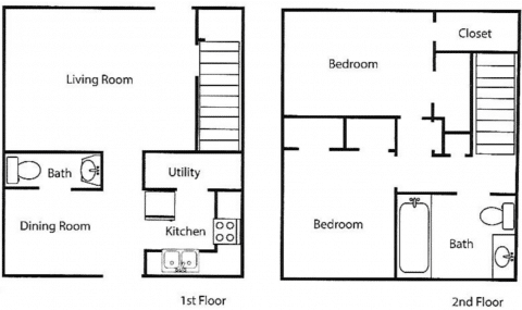2 Bed / 1½ Bath / 1063 ft² / Rent: $517