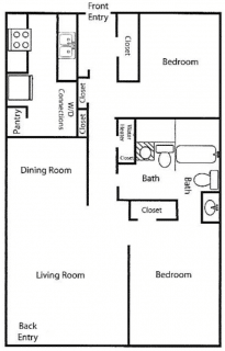 2 Bed / 1½ Bath / 936 ft² / Rent: $517