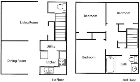 3 Bed / 1½ Bath / 1193 ft² / Carrying Charge 623.00